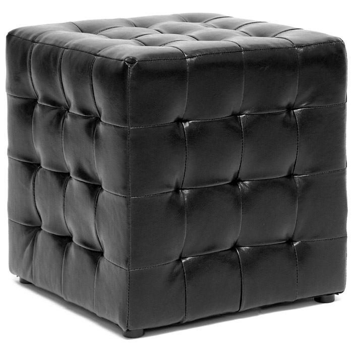 Siskal Tufted Cube Ottoman - Black Upholstery (Set of 2)