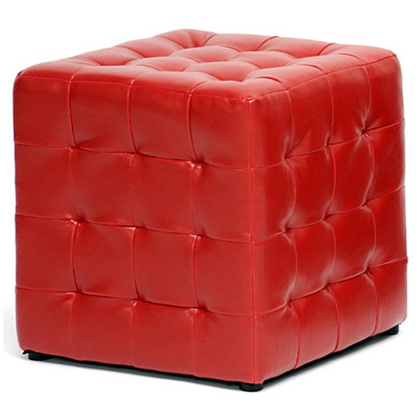 Siskal Tufted Cube Ottoman - Red Upholstery (Set of 2)