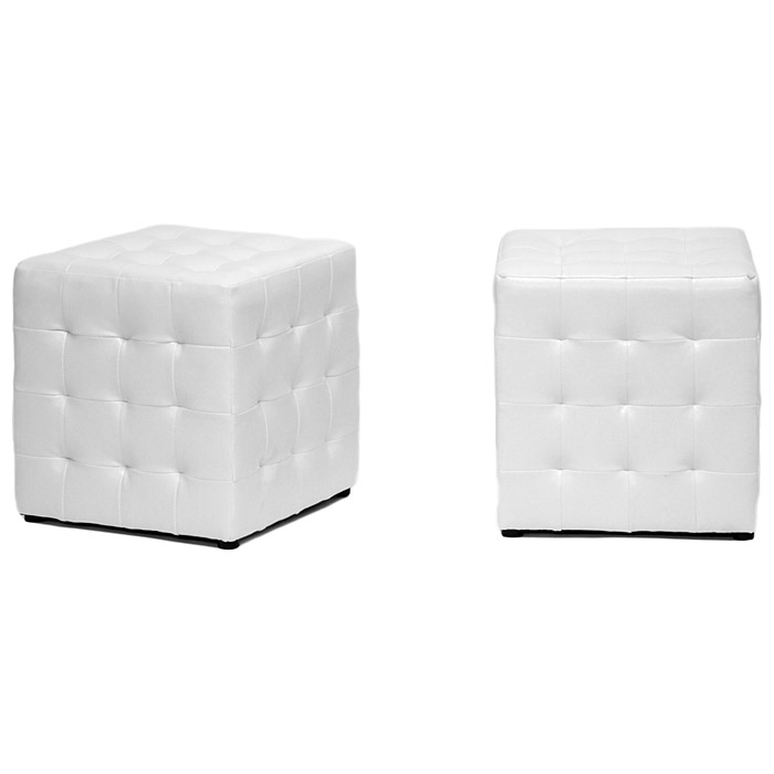 Siskal Tufted Cube Ottoman - White Upholstery (Set of 2) - WI-BH-5589-WHITE-OTTO
