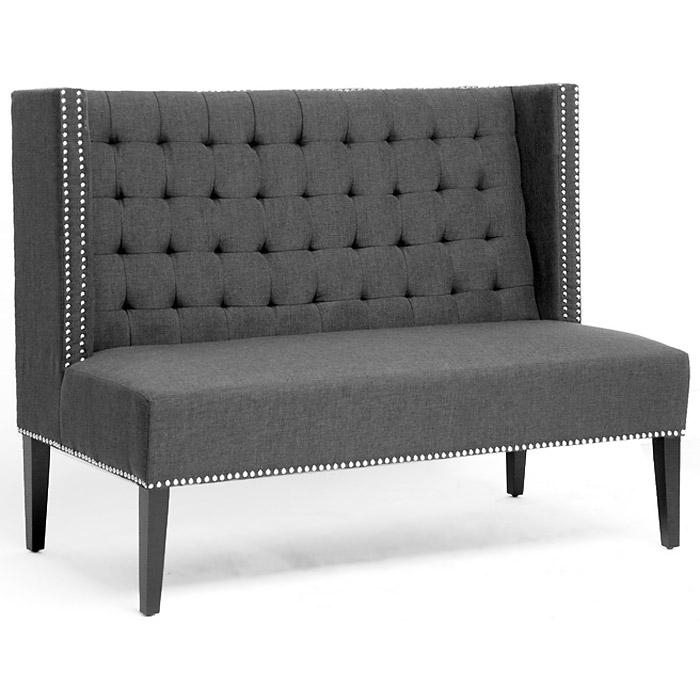 Owstynn Wingback Banquette Bench - Tufted, Gray Linen