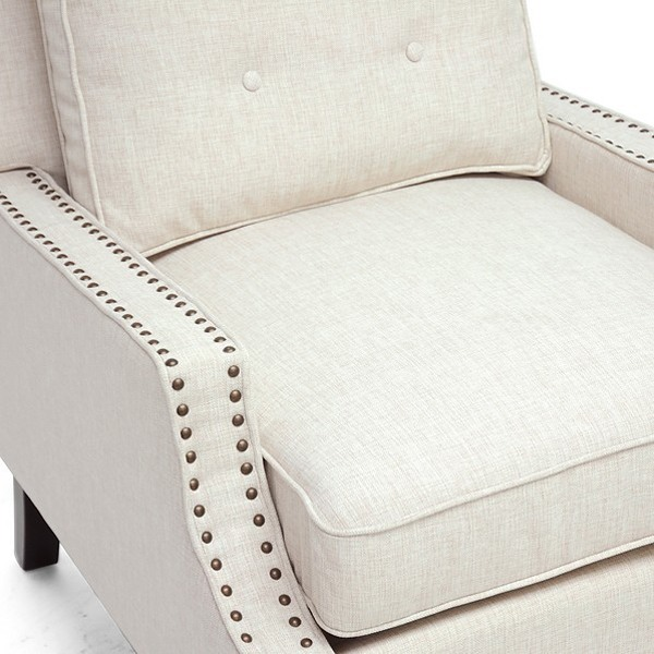 Norwich Modern Club Chair - Nail Heads, Buttons, Beige Linen - WI-BH-63705-BEIGE-CC
