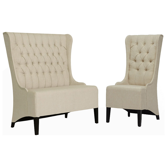 Vincent Loveseat & Chair Set - Button Tufts, Beige Linen