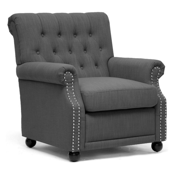 Moretti Club Chair - Button Tufts, Nail Heads, Dark Gray Linen