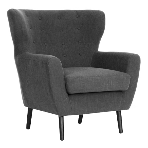Lombardi Modern Armchair - Button Accents, Dark Gray Linen - WI-BH201212-7028-15-GREY-CC