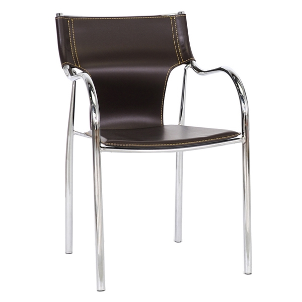 Harris Modern Dining Chair - Stackable, Chrome Steel Frame, Brown