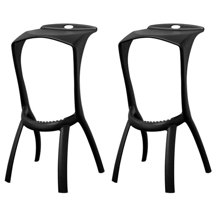 Zinley Black Molded Plastic Bar Stool - WI-BS-207-BLACK