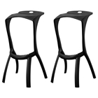 Zinley Black Molded Plastic Bar Stool