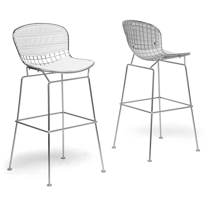 Tolland 30.5'' Bar Stool - Chrome Steel, White Seat Pad - WI-BS-479-WHITE-CUSHION