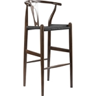 Wishbone Barstool - Dark Brown, Black