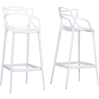 Electron Plastic Bar Stool - White (Set of 2)