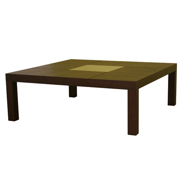 Roulette Oak Coffee Table with Center Glass