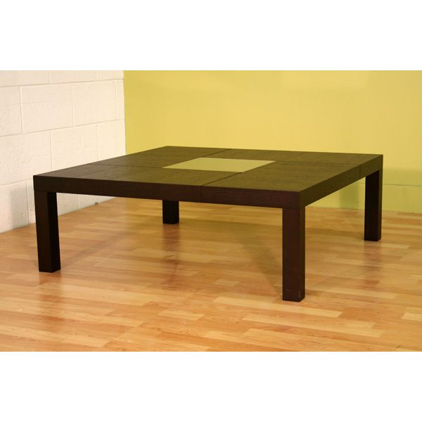 Roulette Oak Coffee Table with Center Glass - WI-C-505