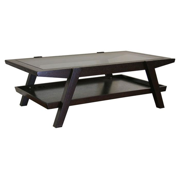 Breiter Wenge Wood and Glass Coffee Table