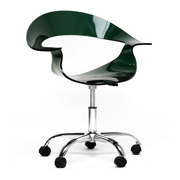 Elia Adjustable Swivel Office Chair - Casters, Deep Green Acrylic - WI-CC-026A-BLACK