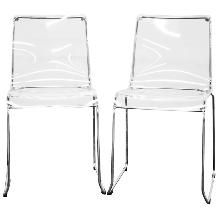 Lino Stackable Transparent Clear Acrylic Dining Chair - WI-CC-53-CLR