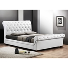 Leighlin Full Sleigh Bed - Button Tufted, White