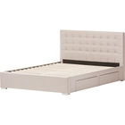 Rene Fabric 4 Drawers Storage Platform Bed - Button Tufted, Brown