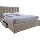 Sarter Upholstered Storage Bed - 2 Drawers, Grid-Tufted