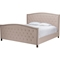 Jessie Button Tufted King Bed - Nailhead, Light Brown - WI-CF8535-KING-BROWN