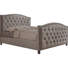Fawner Fabric Upholstered Queen Bed - Button Tufted, Light Brown