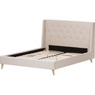 Adelaide Upholstered Platform Bed - Tufted, Winged Headboard