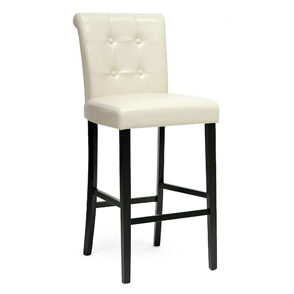 Torrington 30'' Bar Stool - Scroll Back, Tufted, Cream