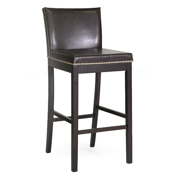 Graymoor 30.75'' Bar Stool - Nail Heads, Dark Brown