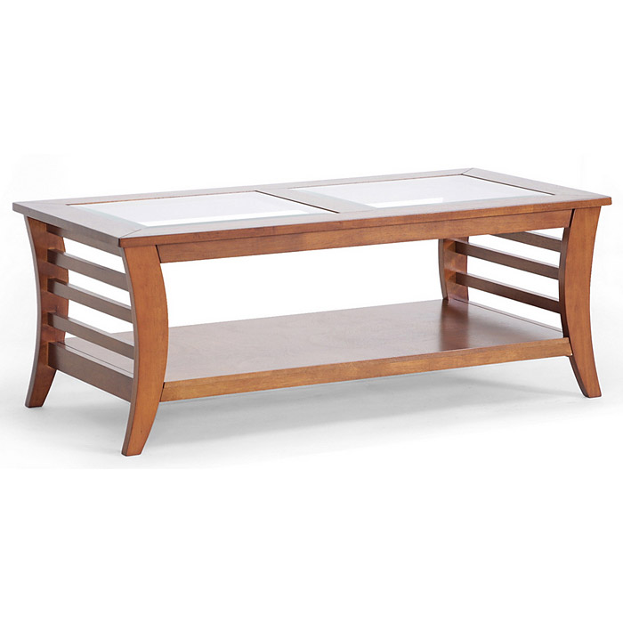 Allison Wood Coffee Table - Honey Brown, Glass Inlay, Lower Shelf