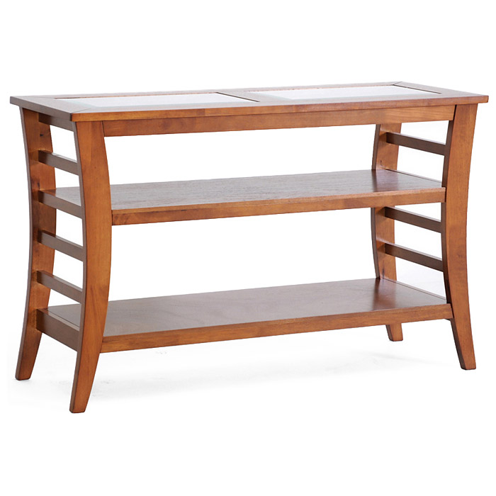 Allison Wood Console Table - Honey Brown, Glass Inlay, 2 Shelves