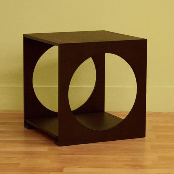 Amona Cut Out Black Oak End Table