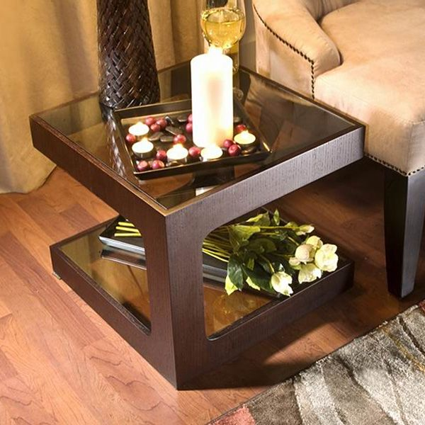 Colleen Glass Square Side Table - WI-CT-003