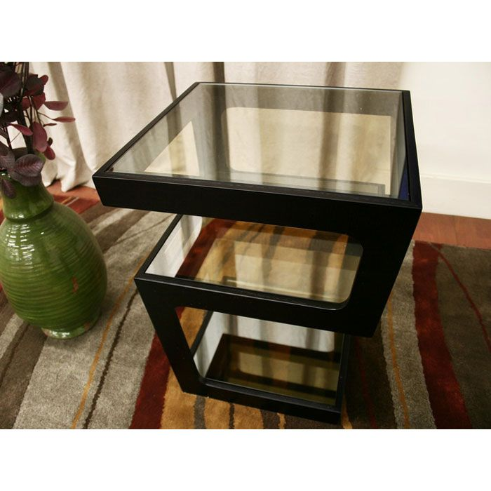 Clara 3-Tiered End Table with Glass Shelves - WI-CT-089B-BLK