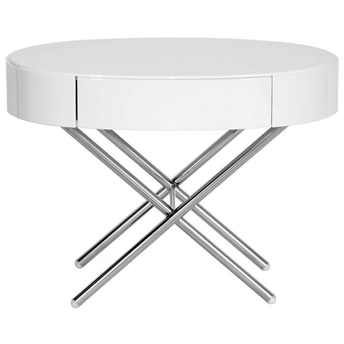 Coquille End Table / Nightstand - White Lacquer Top, Chrome Legs - WI-CT-118