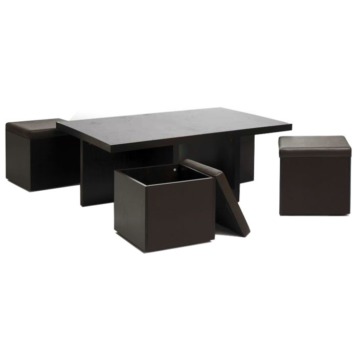 Prescott Modern Table and Stool Set with Hidden Storage - WI-CT-1190-CTS-1190