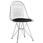 Avery Bertoia Style Accent Chair - Chrome, Black Seat