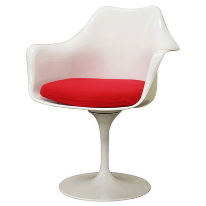 Cyma Plastic Arm Chair in Red and White