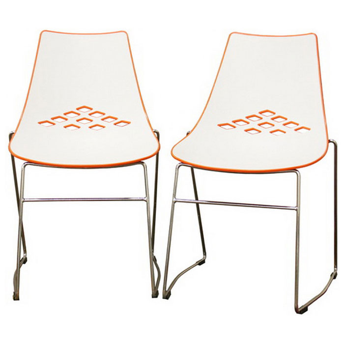 Jupiter Stackable White and Orange Plastic Dining Chair