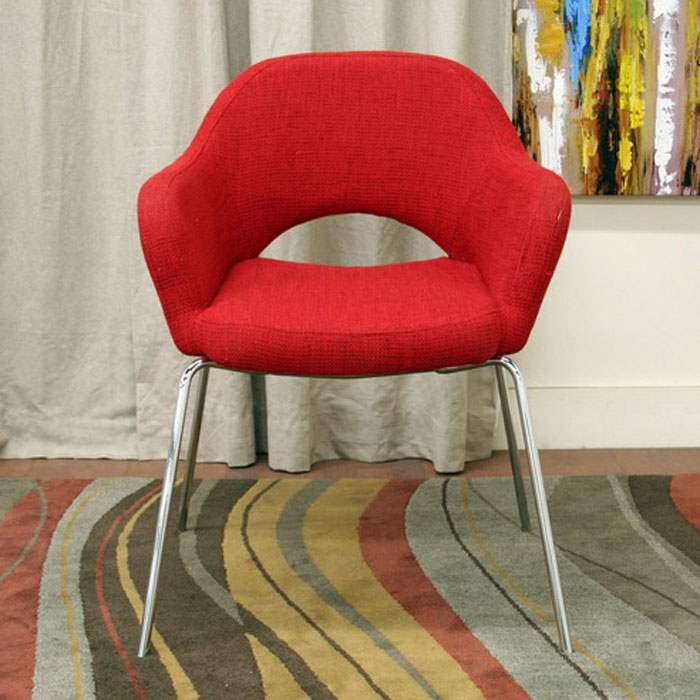 Dahlia Modern Red Twill Arm Chair - WI-DC-506-RED