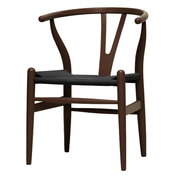 Hans Wegner Style Wishbone Chair - Brown Frame, Black Seat