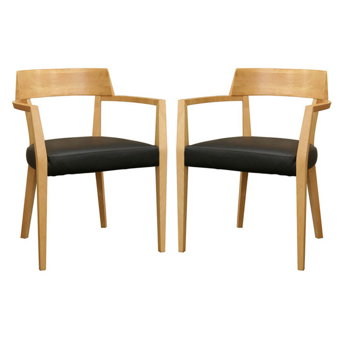 Laine Wood Dining Chair with Black Seat