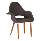 Forza Upholstered Armchair - Wood Legs, Dark Brown Twill Seat