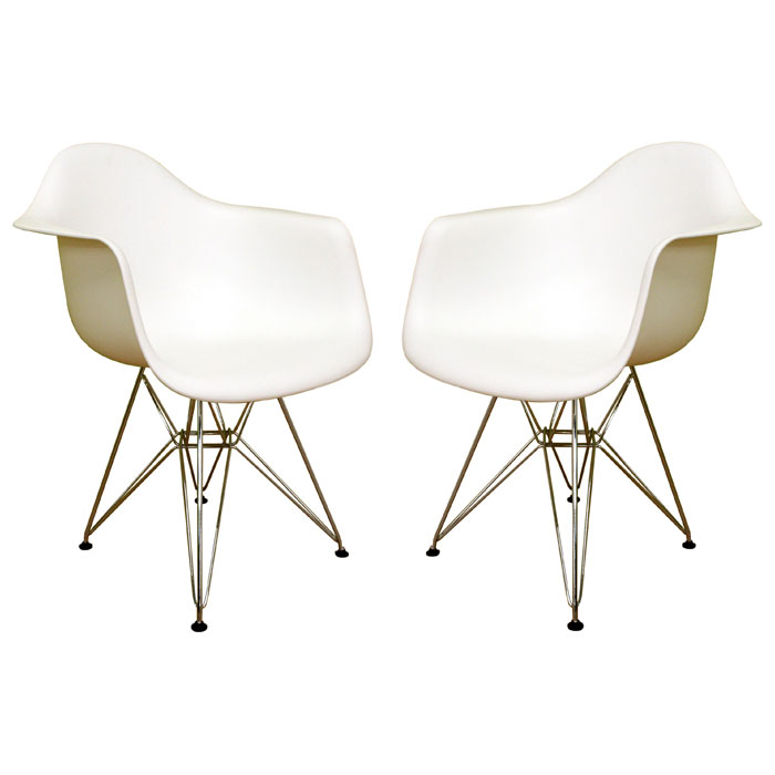Dario White Molded Plastic Chair (Set of 2)