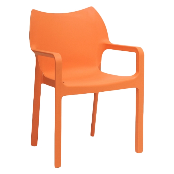 Limerick Molded Plastic Dining Chair - Stackable, Orange