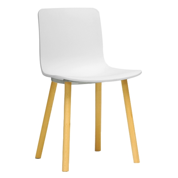 Lyle Modern Dining Chair - Wood Legs, White Plastic Seat