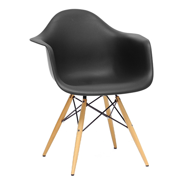 Pascal Mid-Century Modern Plastic Chair - Wood Dowel Legs, Black