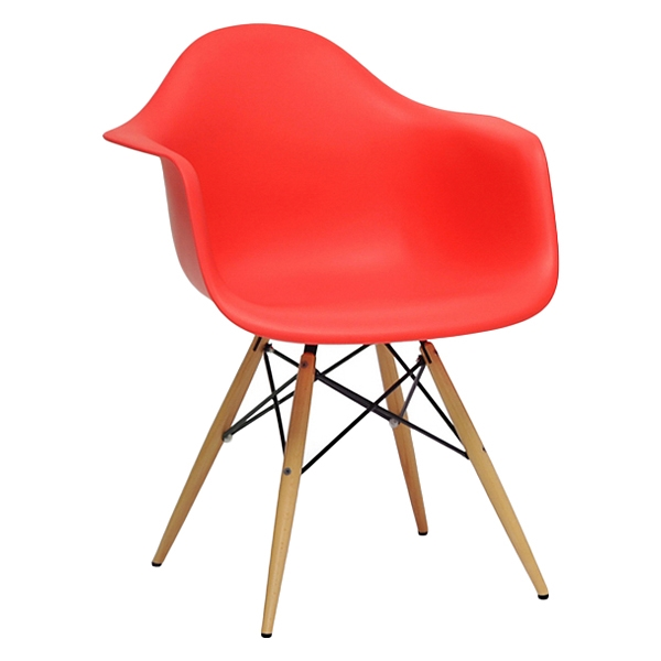 Pascal Mid-Century Modern Plastic Chair - Wood Dowel Legs, Red