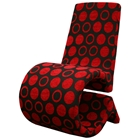 Forte Black and Red Patterned Fabric Accent Chair
