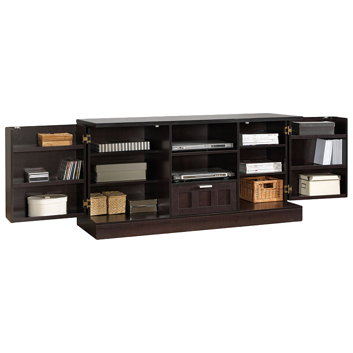 Tosato Wooden TV Cabinet - Dark Brown, 2 Cabinets, 1 Drawer - WI-FTV-4122