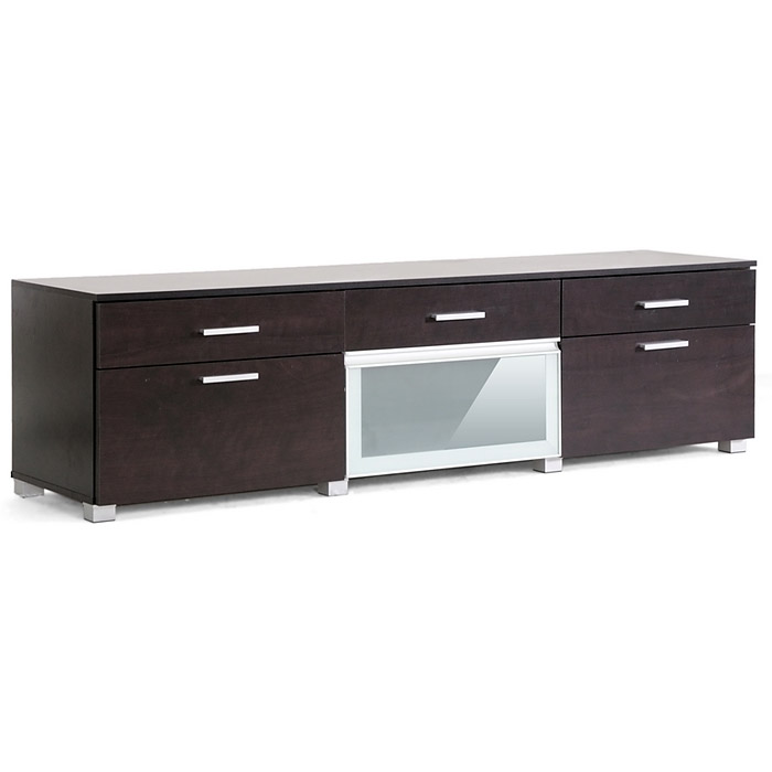 Basilio 70'' Entertainment Center - Dark Brown, Frosted Glass - WI-FTV-4127