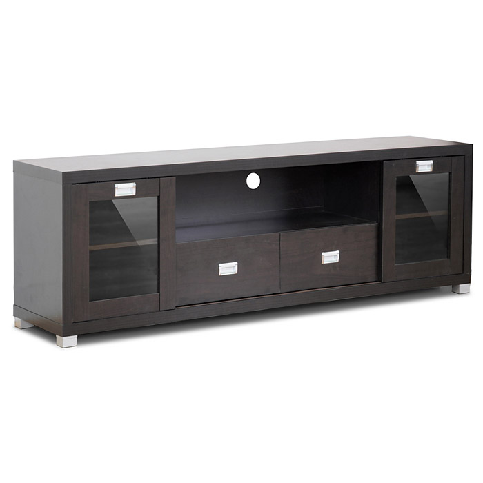 Gosford 69'' TV Stand - Dark Brown, Tempered Glass, 2 Drawers - WI-FTV-881